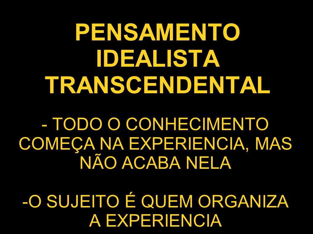 PENSAMENTO IDEALISTA TRANSCENDENTAL