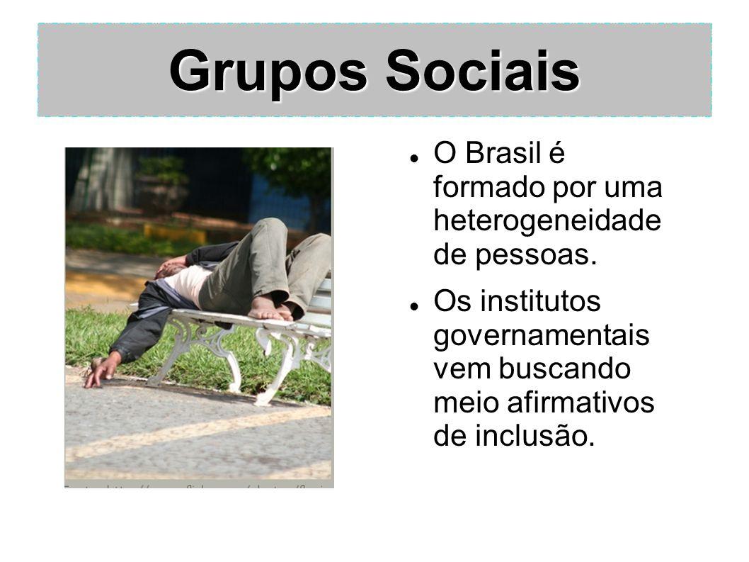 Grupos Sociais O Brasil é formado por uma heterogeneidade de pessoas.