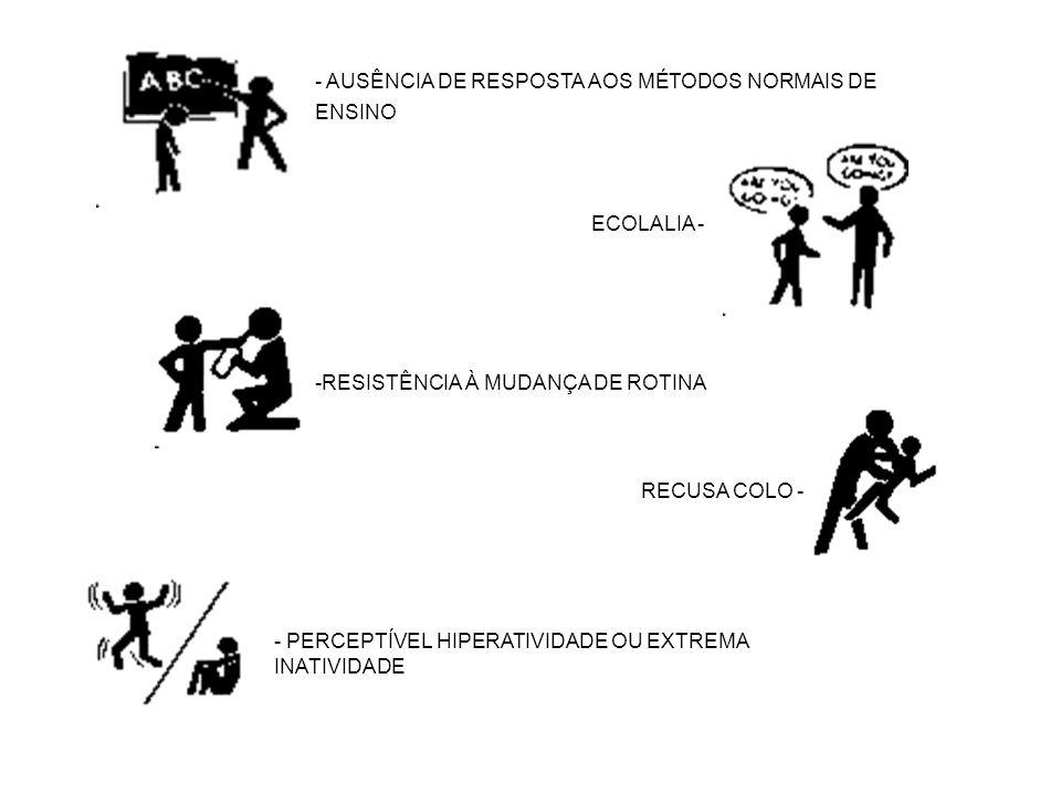 - AUSÊNCIA DE RESPOSTA AOS MÉTODOS NORMAIS DE ENSINO