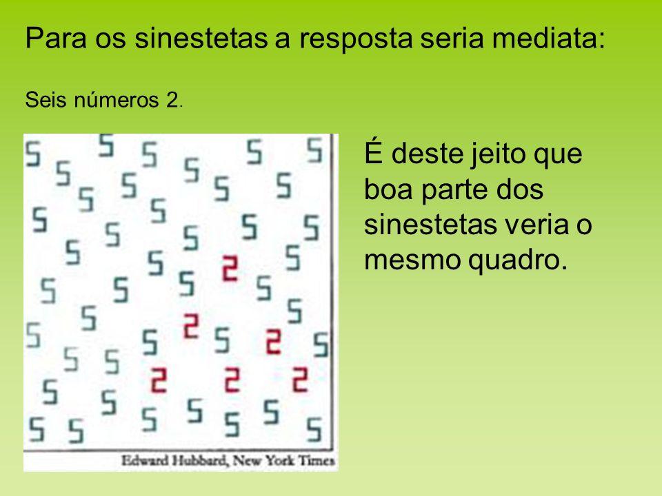 Para os sinestetas a resposta seria mediata: