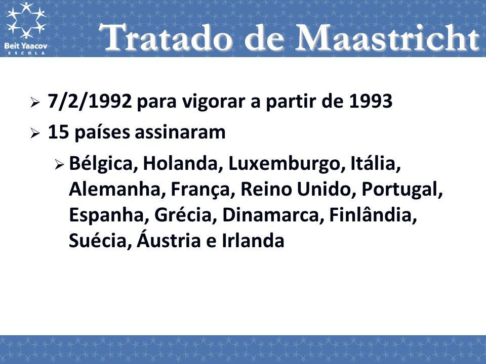 Tratado de Maastricht 7/2/1992 para vigorar a partir de 1993