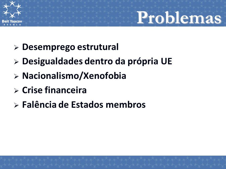 Problemas Desemprego estrutural Desigualdades dentro da própria UE