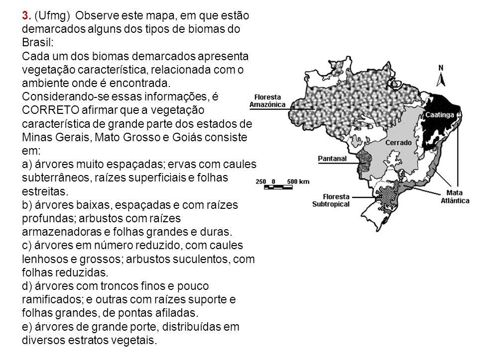 3. (Ufmg) Observe este mapa, em que estão demarcados alguns dos tipos de biomas do Brasil: