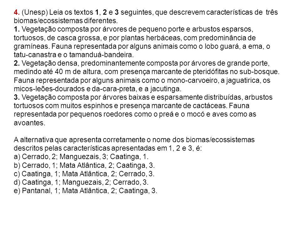 4. (Unesp) Leia os textos 1, 2 e 3 seguintes, que descrevem características de três biomas/ecossistemas diferentes.
