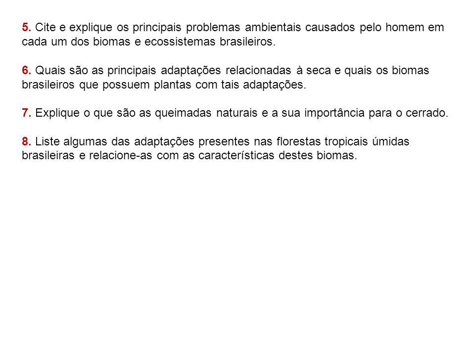 5. Cite e explique os principais problemas ambientais causados pelo homem em cada um dos biomas e ecossistemas brasileiros.