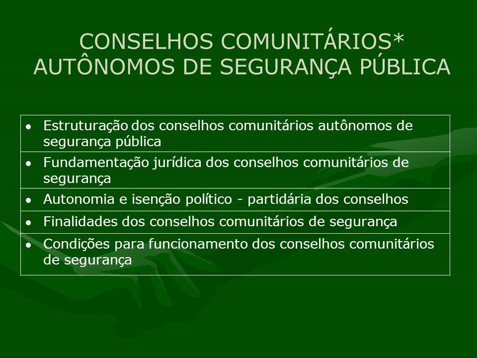 CONSELHOS COMUNITÁRIOS* AUTÔNOMOS DE SEGURANÇA PÚBLICA