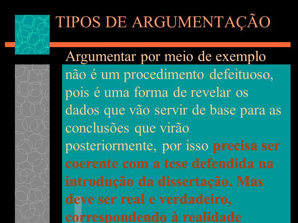 TIPOS DE ARGUMENTAÇÃO