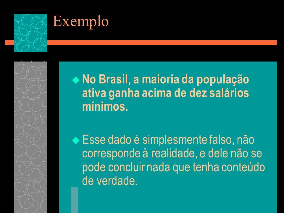 Exemplo No Brasil, a maioria da população ativa ganha acima de dez salários mínimos.