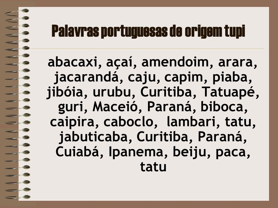 Palavras portuguesas de origem tupi
