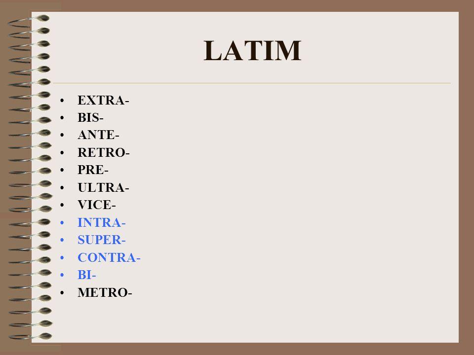 LATIM EXTRA- BIS- ANTE- RETRO- PRE- ULTRA- VICE- INTRA- SUPER- CONTRA-