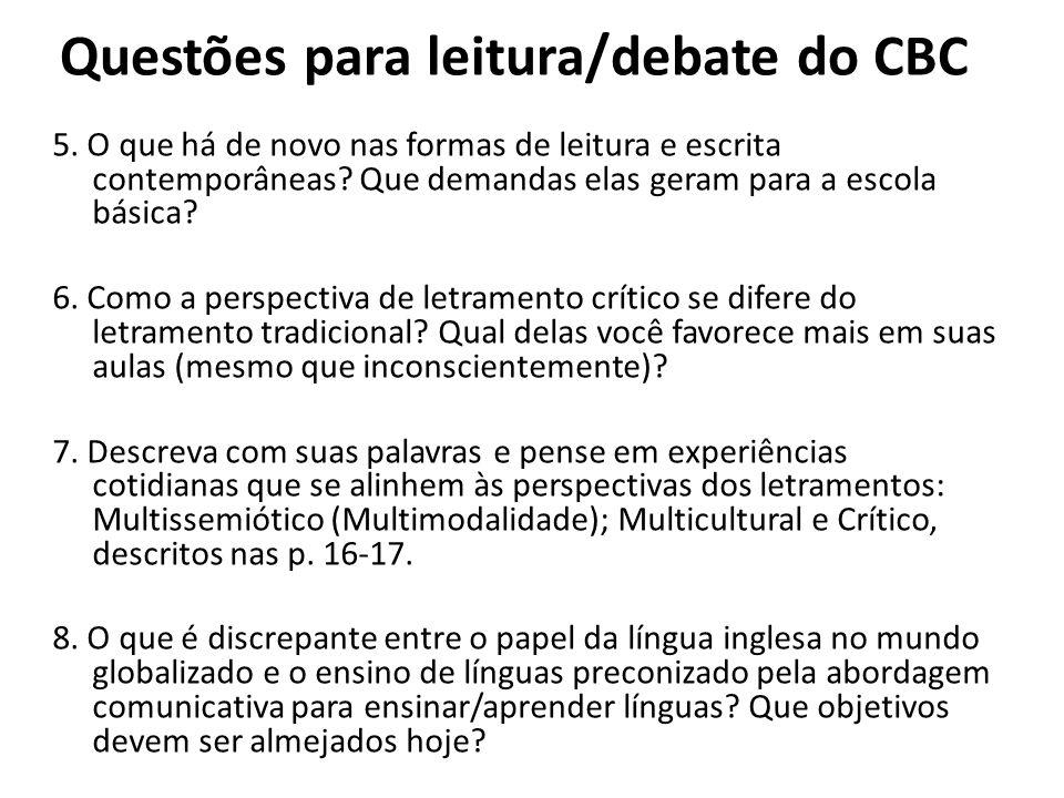 Questões para leitura/debate do CBC