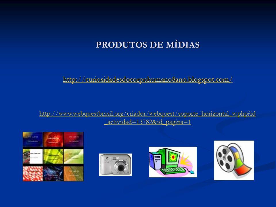 PRODUTOS DE MÍDIAS http://curiosidadesdocorpohumano8ano.blogspot.com/