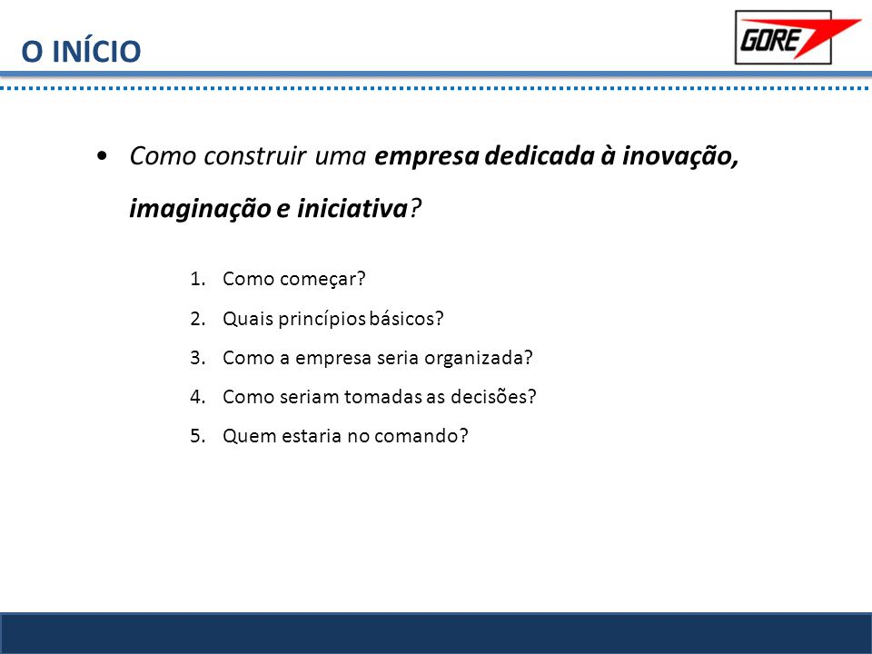 O INÍCIO Como construir uma empresa dedicada à inovação, imaginação e iniciativa Como começar Quais princípios básicos