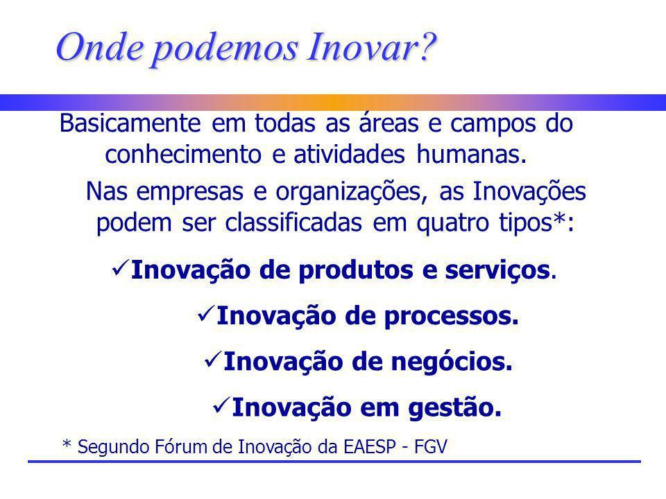 Onde podemos Inovar Basicamente em todas as áreas e campos do conhecimento e atividades humanas.