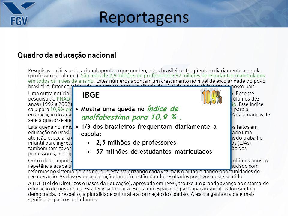 Reportagens 10,9% Quadro da educação nacional IBGE