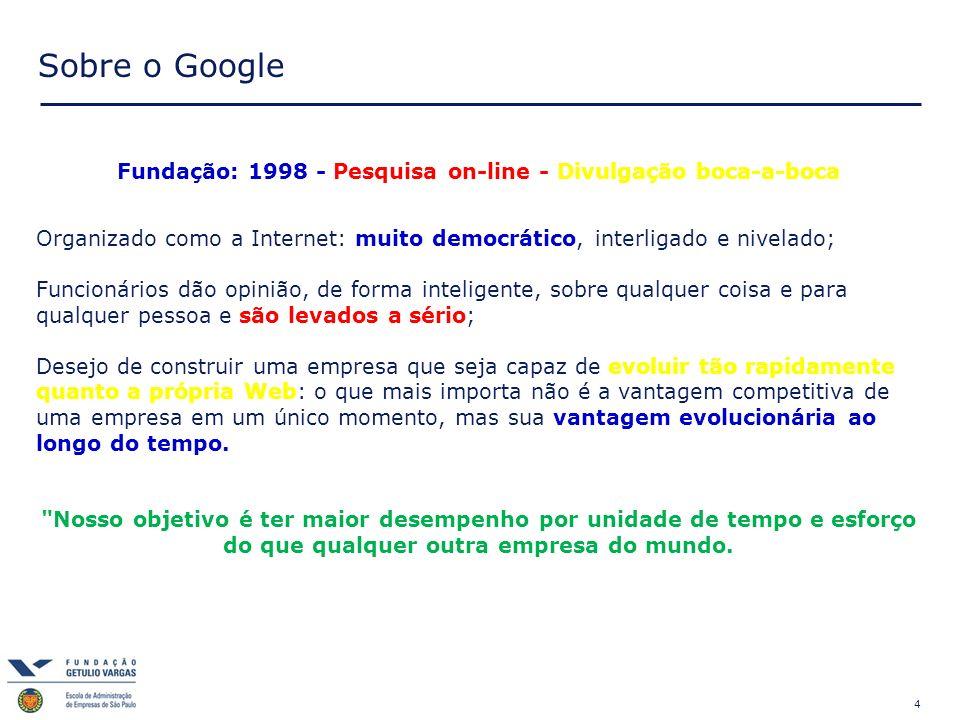 Fundação: 1998 - Pesquisa on-line - Divulgação boca-a-boca