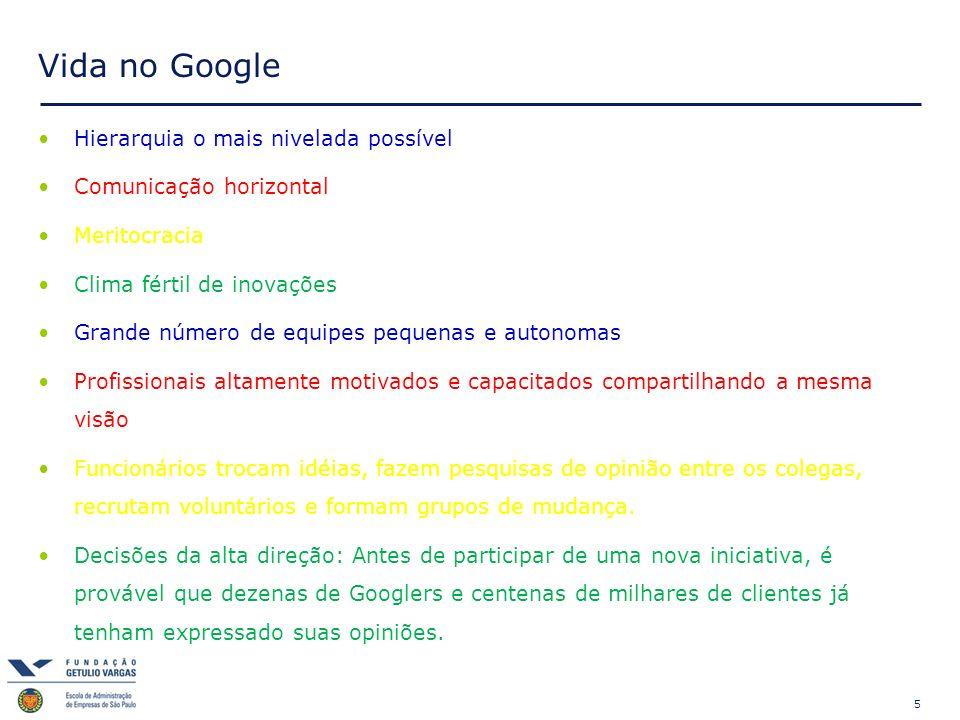 Vida no Google Hierarquia o mais nivelada possível