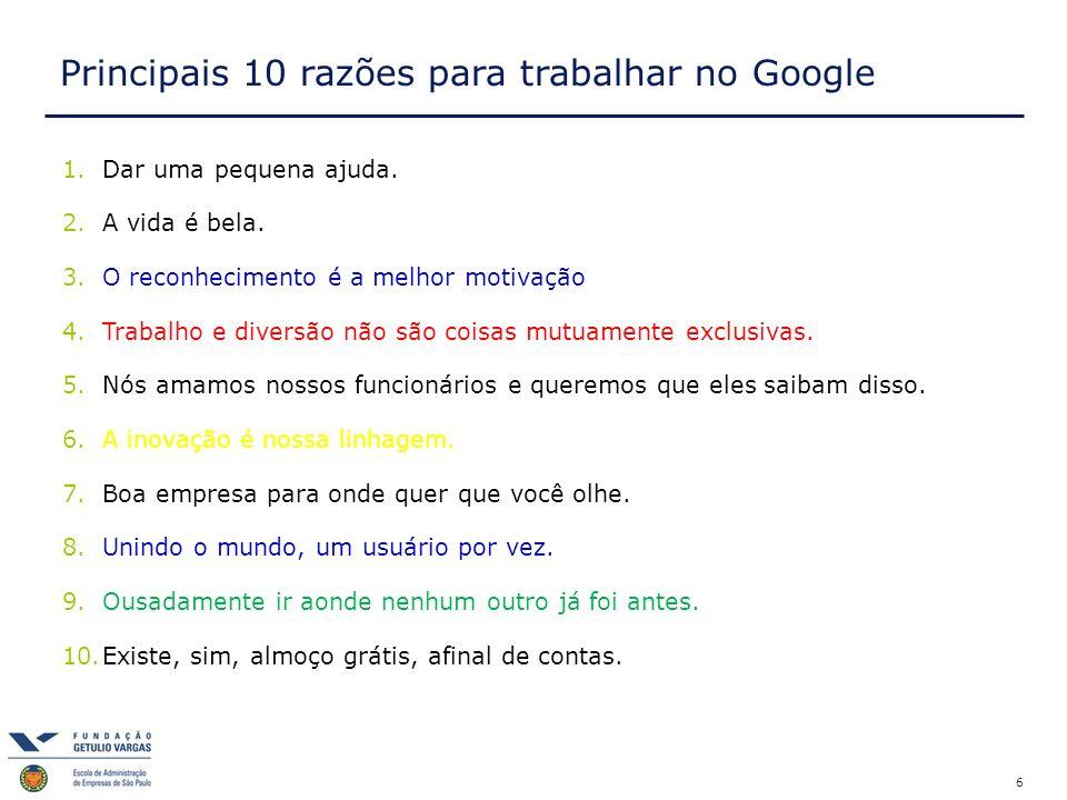 Principais 10 razões para trabalhar no Google