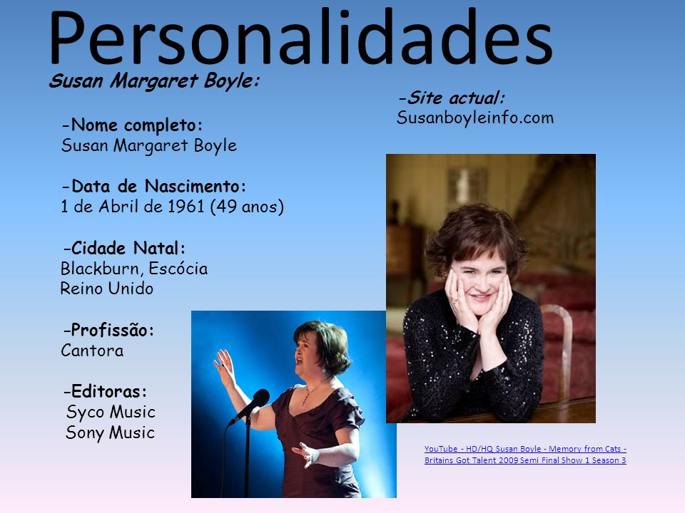Personalidades Susan Margaret Boyle: -Site actual: Susanboyleinfo.com
