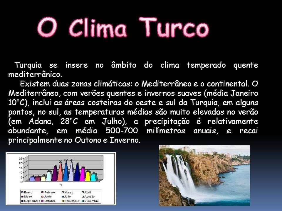 O Clima Turco Turquia se insere no âmbito do clima temperado quente mediterrânico.