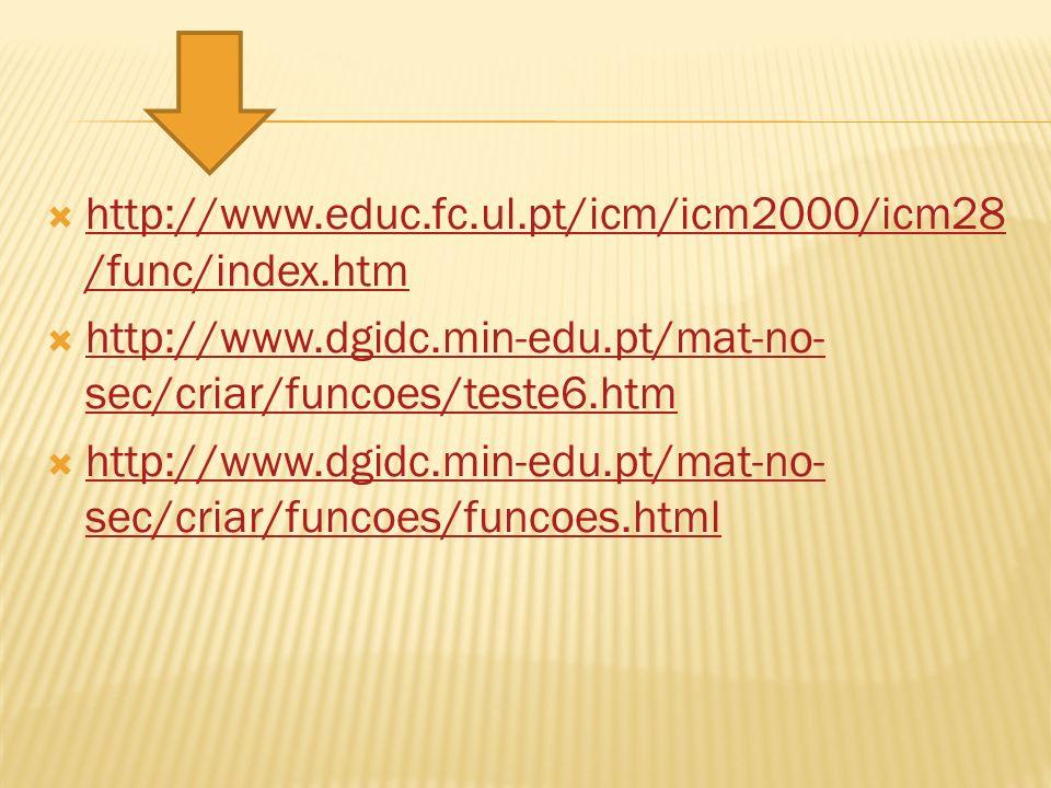 http://www.educ.fc.ul.pt/icm/icm2000/icm28/func/index.htm http://www.dgidc.min-edu.pt/mat-no-sec/criar/funcoes/teste6.htm.