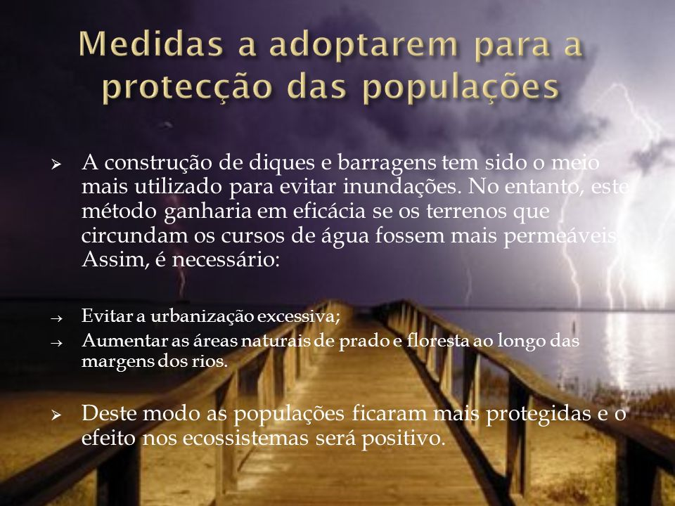 Medidas a adoptarem para a protecção das populações
