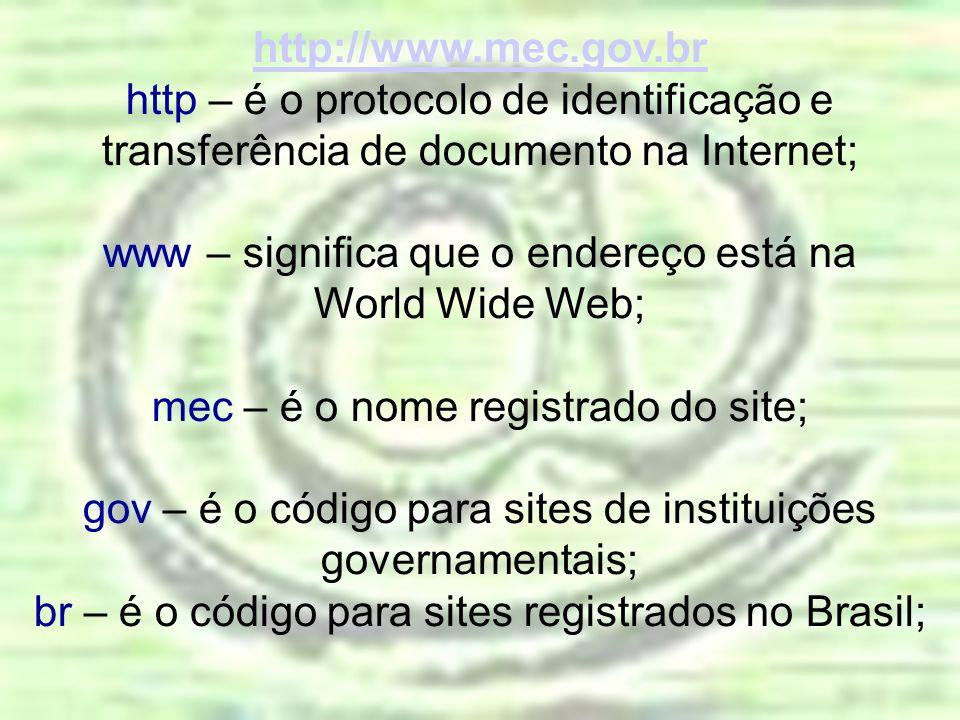 www – significa que o endereço está na World Wide Web;