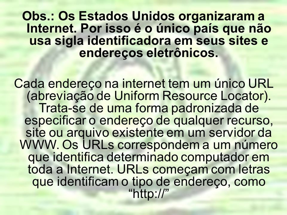 Obs. : Os Estados Unidos organizaram a Internet