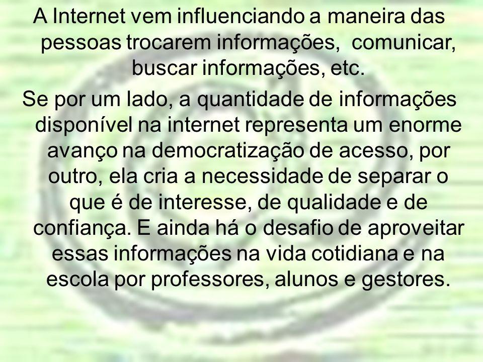 A Internet vem influenciando a maneira das pessoas trocarem informações, comunicar, buscar informações, etc.