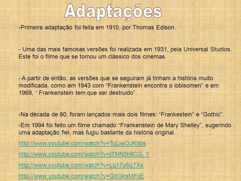 Adaptações Primeira adaptação foi feita em 1910, por Thomas Edison.