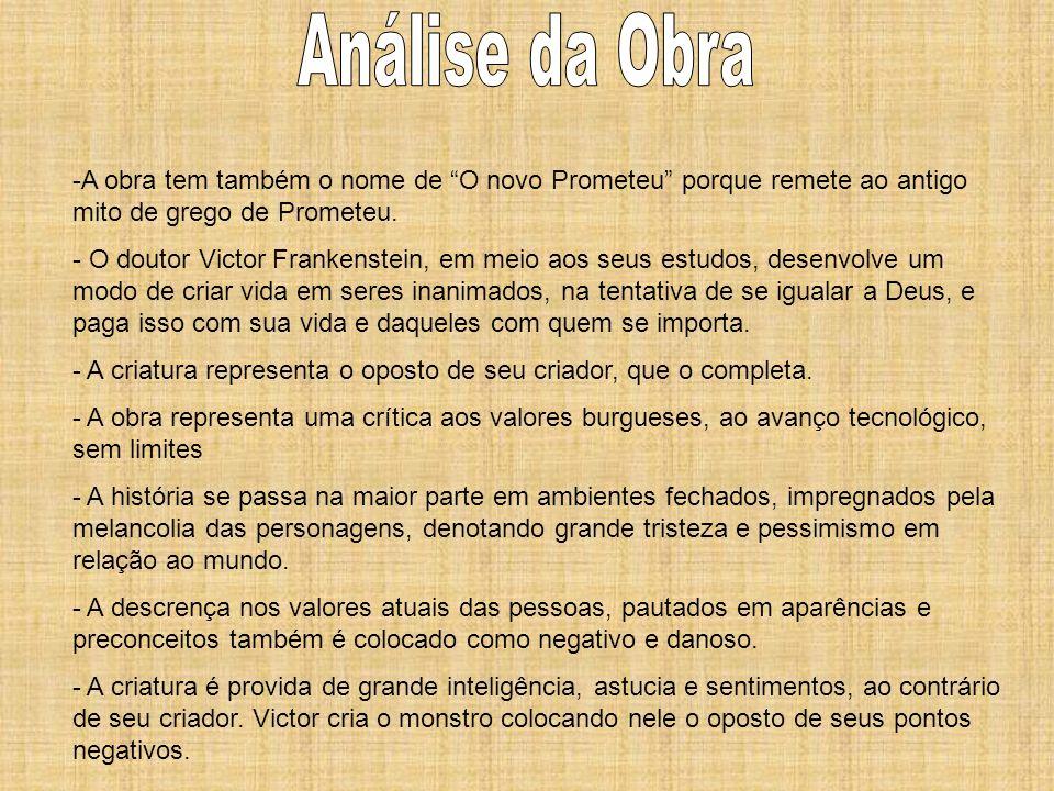 Análise da ObraA obra tem também o nome de O novo Prometeu porque remete ao antigo mito de grego de Prometeu.