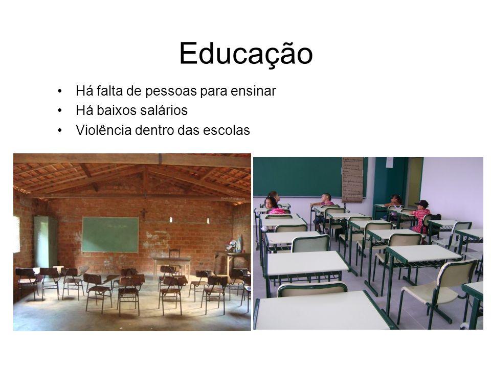 Educação Há falta de pessoas para ensinar Há baixos salários