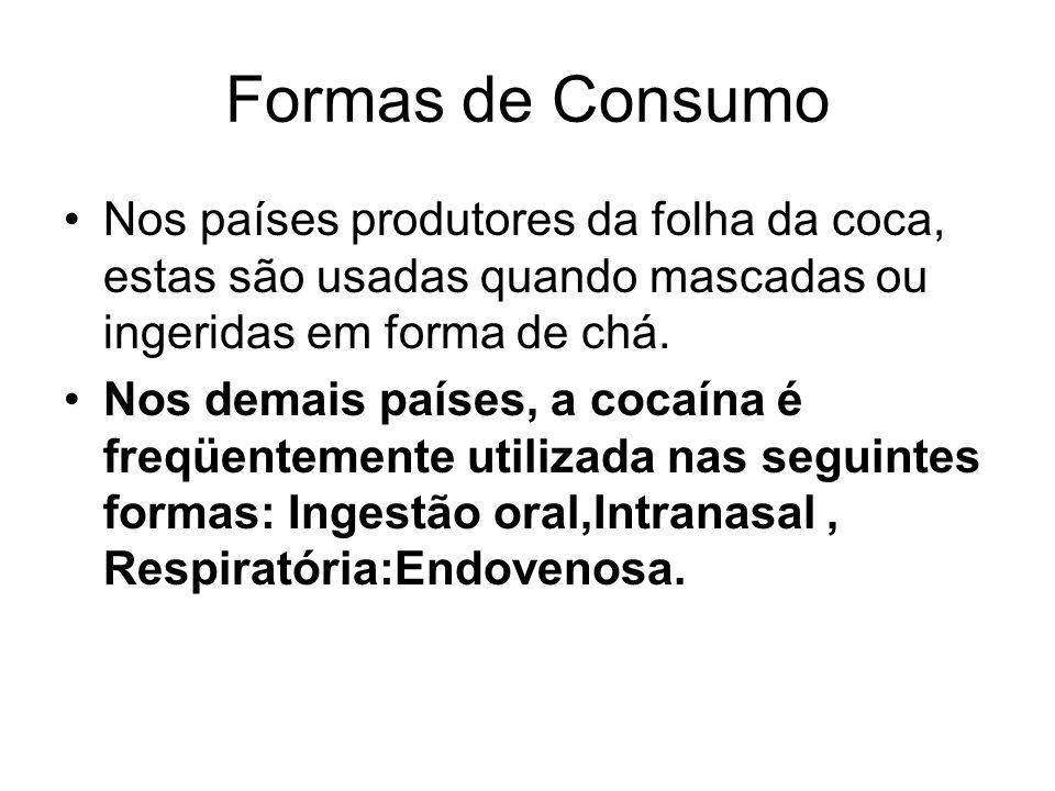 Formas de Consumo Nos países produtores da folha da coca, estas são usadas quando mascadas ou ingeridas em forma de chá.