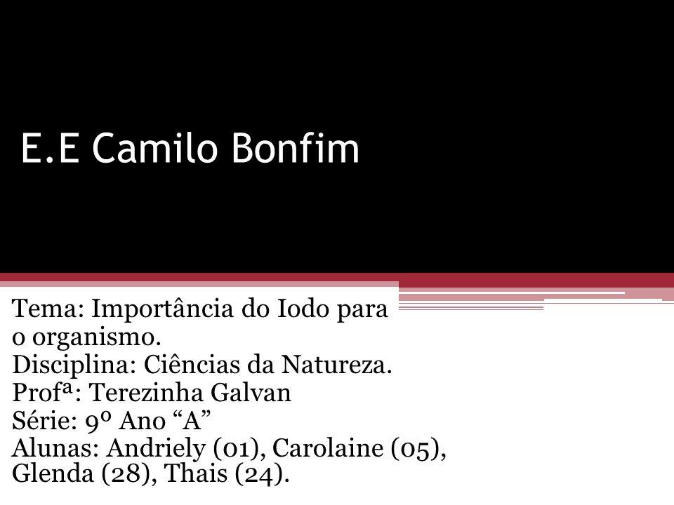 E.E Camilo Bonfim Tema: Importância do Iodo para o organismo.