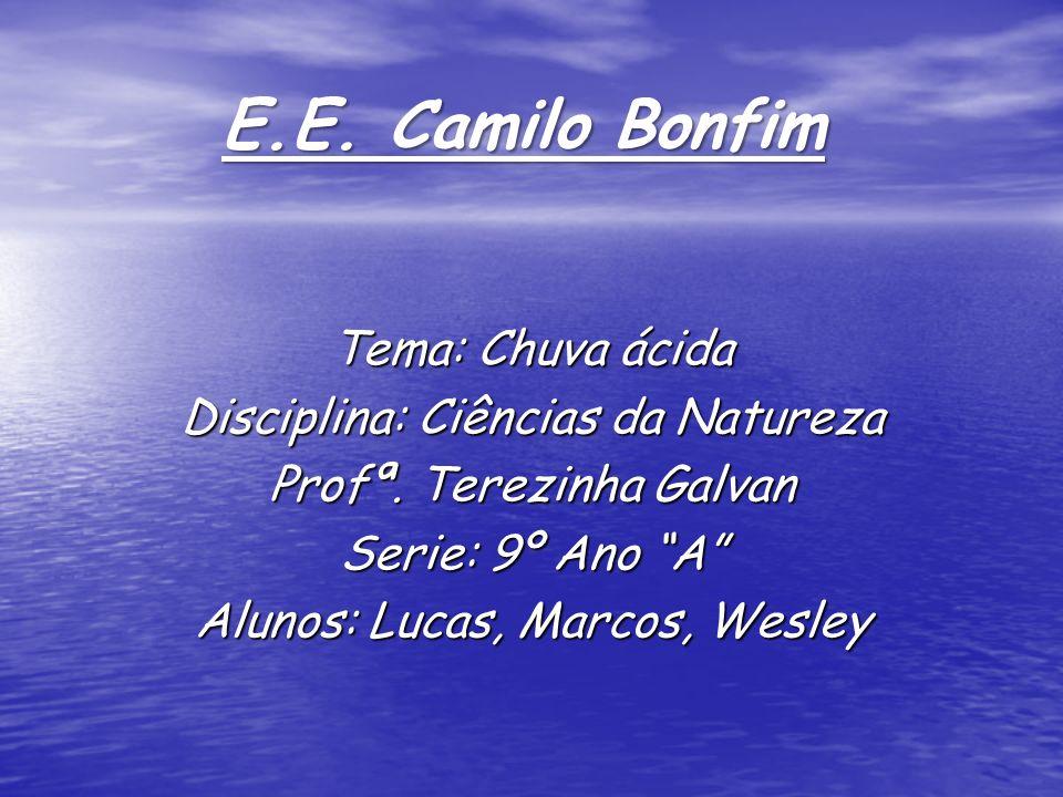 E.E. Camilo Bonfim Tema: Chuva ácida Disciplina: Ciências da Natureza