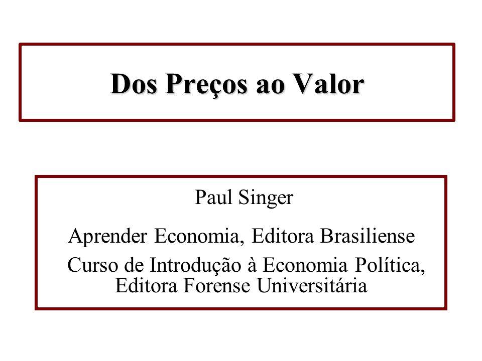 Dos Preços ao Valor Paul Singer Aprender Economia, Editora Brasiliense