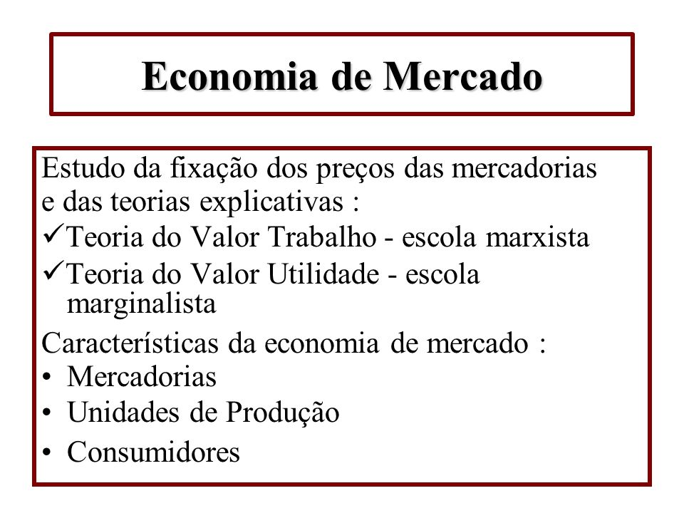 Economia de Mercado Estudo da fixação dos preços das mercadorias