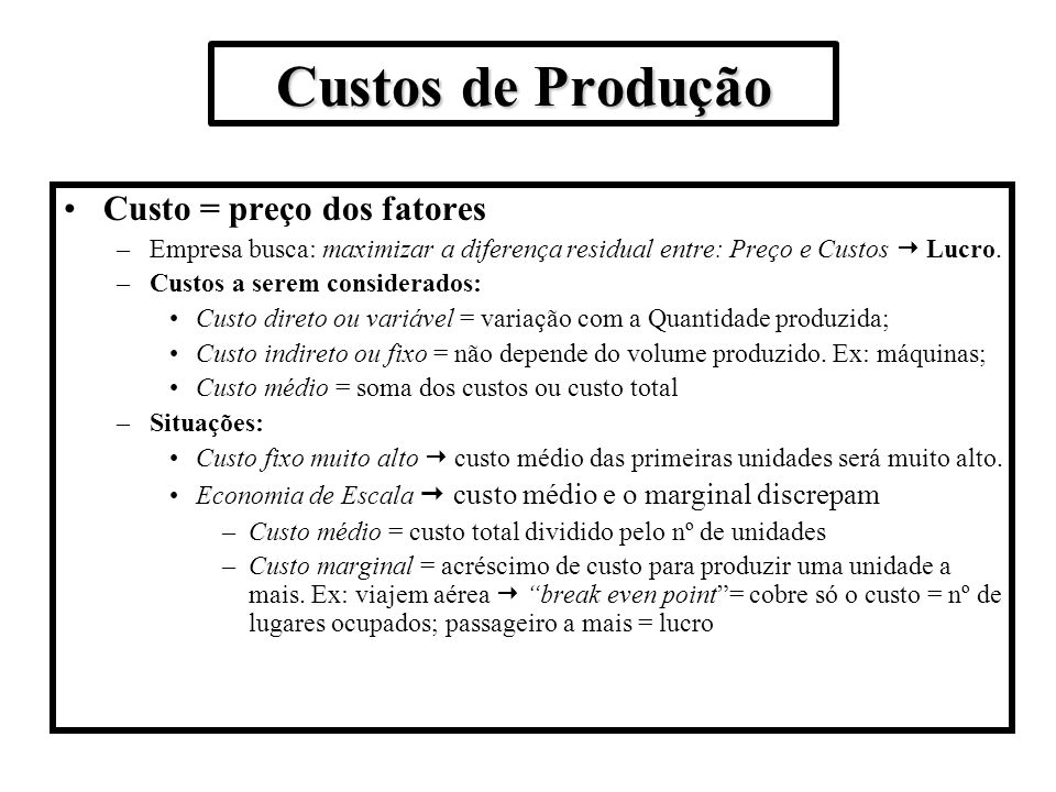 Custos de Produção Custo = preço dos fatores
