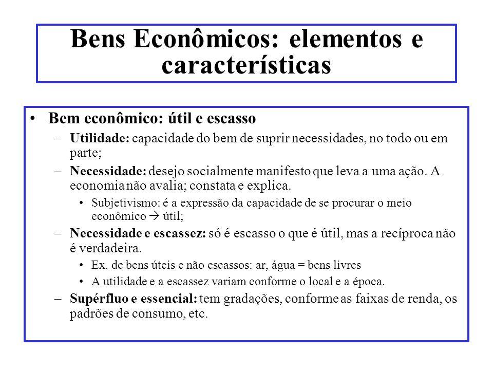 Bens Econômicos: elementos e características