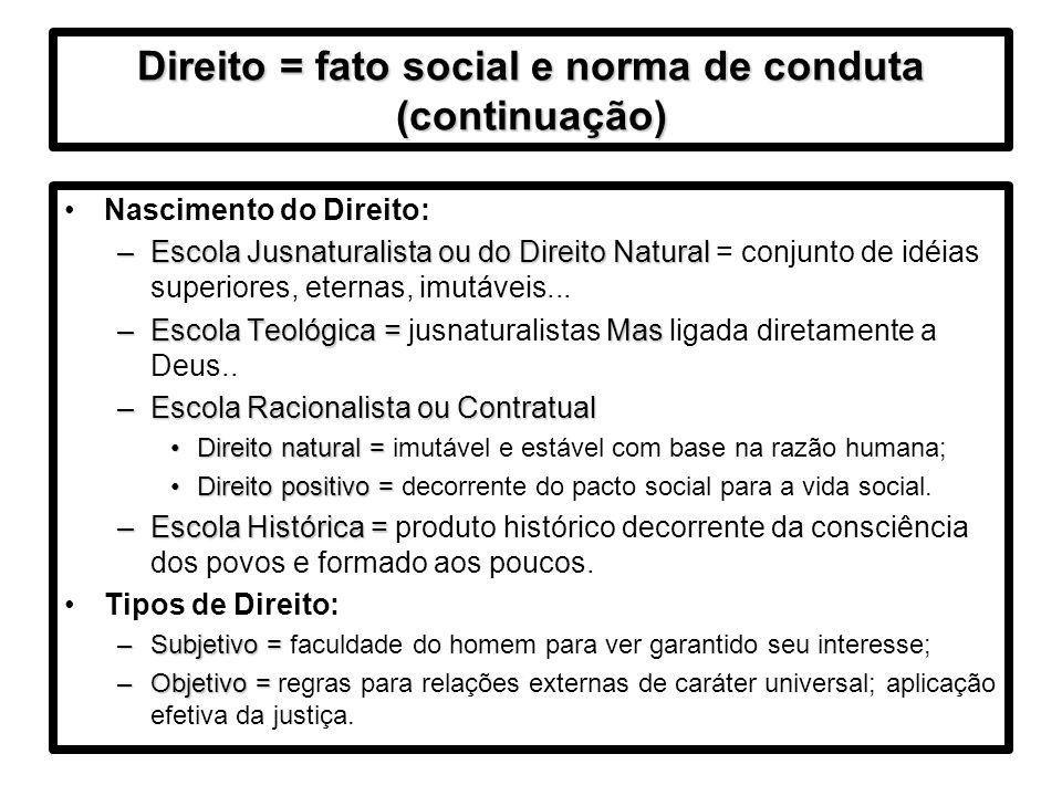 Direito = fato social e norma de conduta (continuação)
