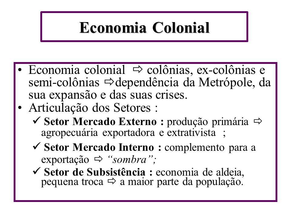 Economia Colonial Economia colonial  colônias, ex-colônias e semi-colônias dependência da Metrópole, da sua expansão e das suas crises.