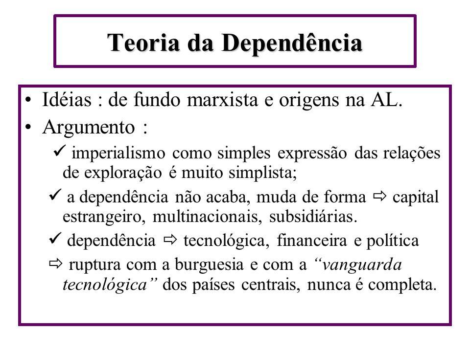 Teoria da Dependência Idéias : de fundo marxista e origens na AL.