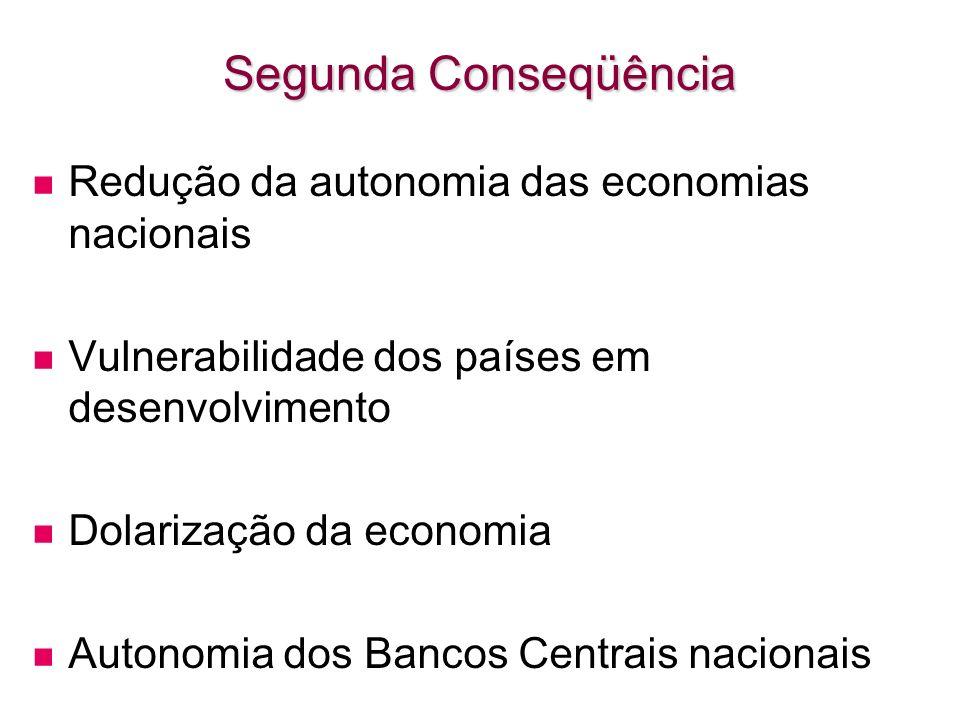 Segunda Conseqüência Redução da autonomia das economias nacionais