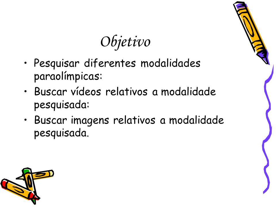 Objetivo Pesquisar diferentes modalidades paraolímpicas: