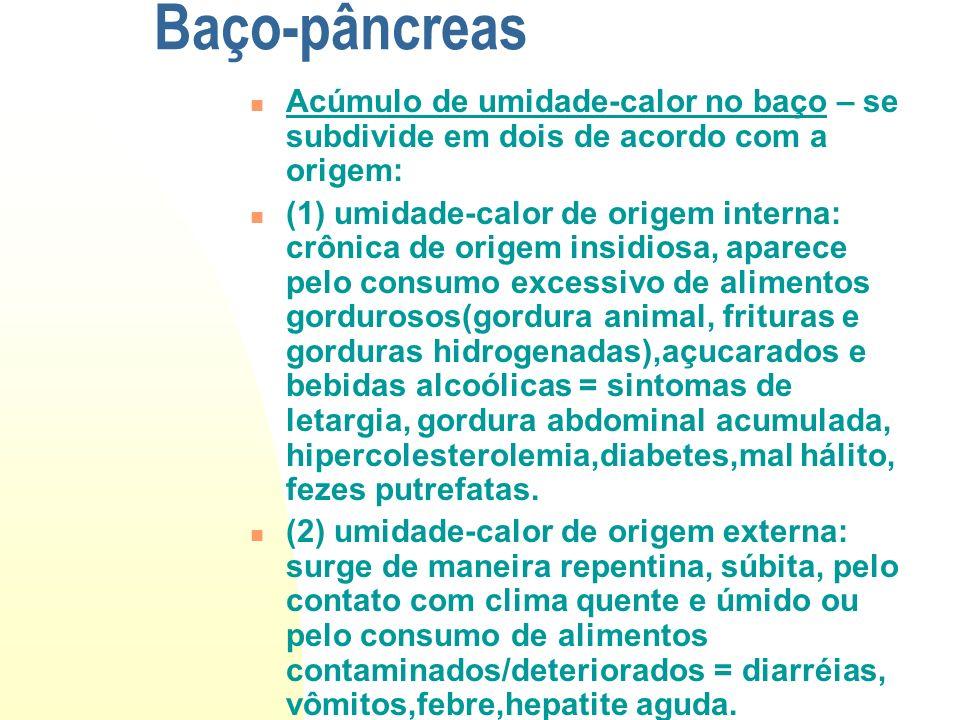 Baço-pâncreas Acúmulo de umidade-calor no baço – se subdivide em dois de acordo com a origem: