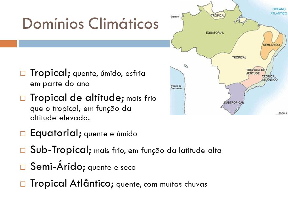 Domínios Climáticos Tropical; quente, úmido, esfria em parte do ano