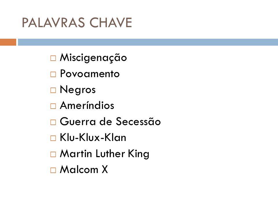 PALAVRAS CHAVE Miscigenação Povoamento Negros Ameríndios