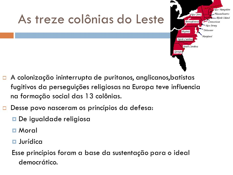 As treze colônias do Leste