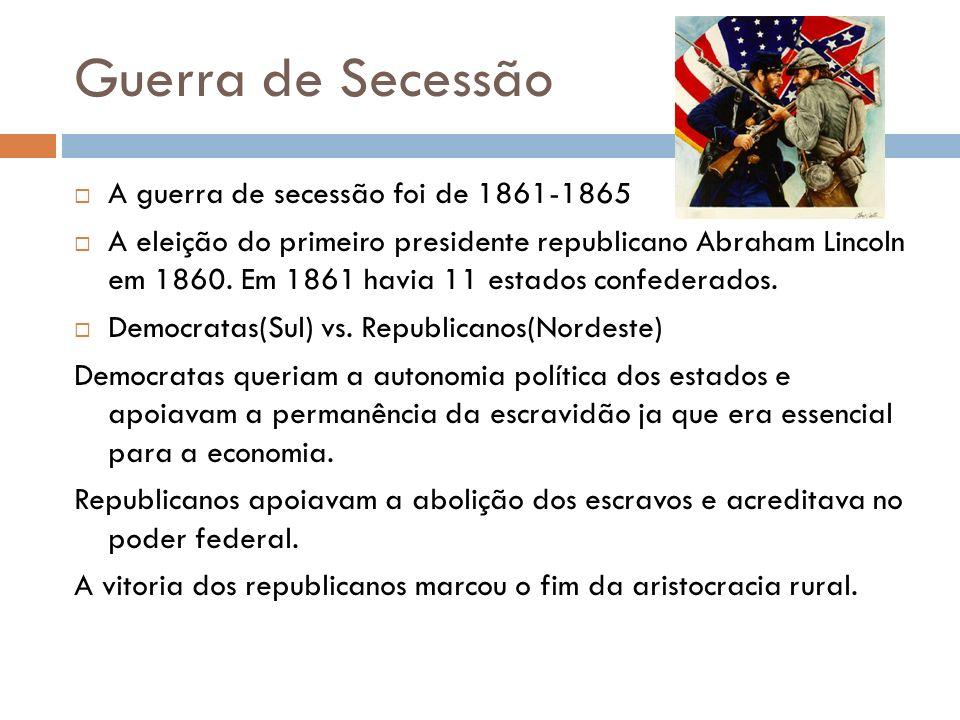 Guerra de Secessão A guerra de secessão foi de 1861-1865