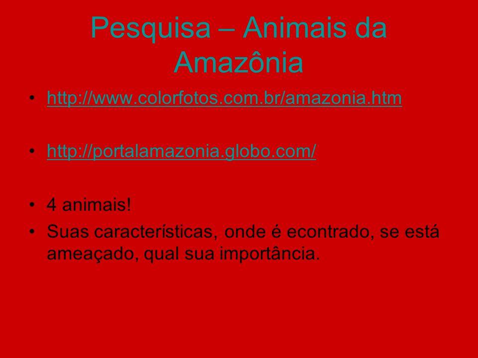 Pesquisa – Animais da Amazônia